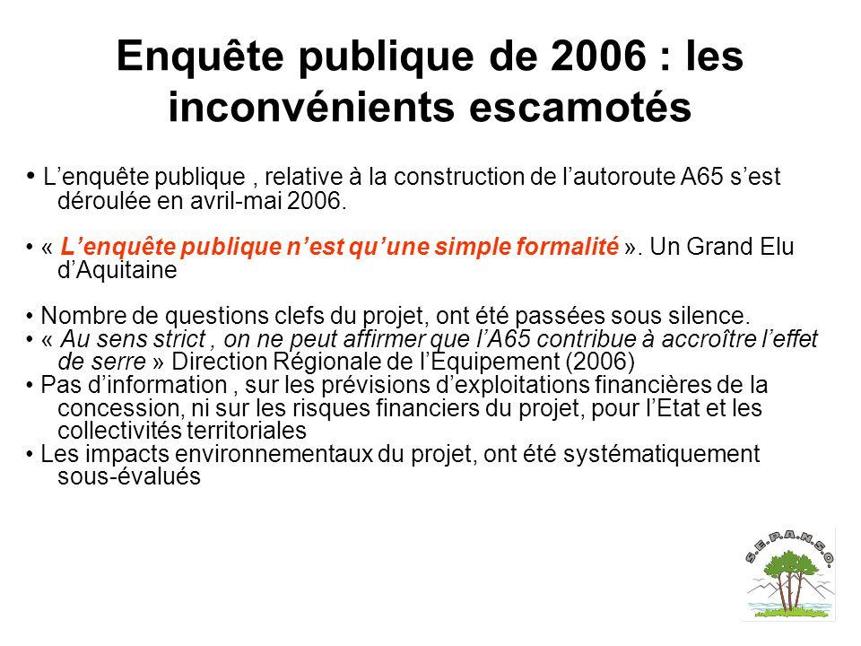 Enquête publique de 2006 : les inconvénients escamotés L'enquête publique, relative à la construction de l'autoroute A65 s'est déroulée en avril-mai 2006.