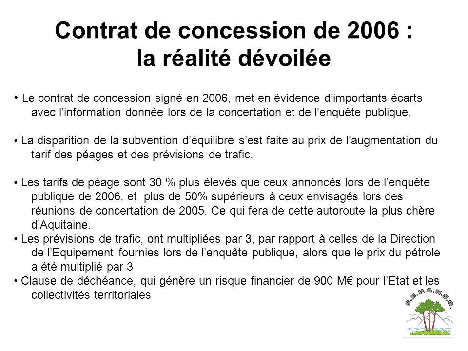 Contrat de concession de 2006 : la réalité dévoilée Le contrat de concession signé en 2006, met en évidence d'importants écarts avec l'information donnée lors de la concertation et de l'enquête publique.
