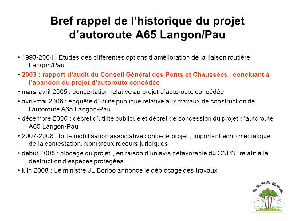 Bref rappel de l'historique du projet d'autoroute A65 Langon/Pau 1993-2004 : Etudes des différentes options d'amélioration de la liaison routière Lang