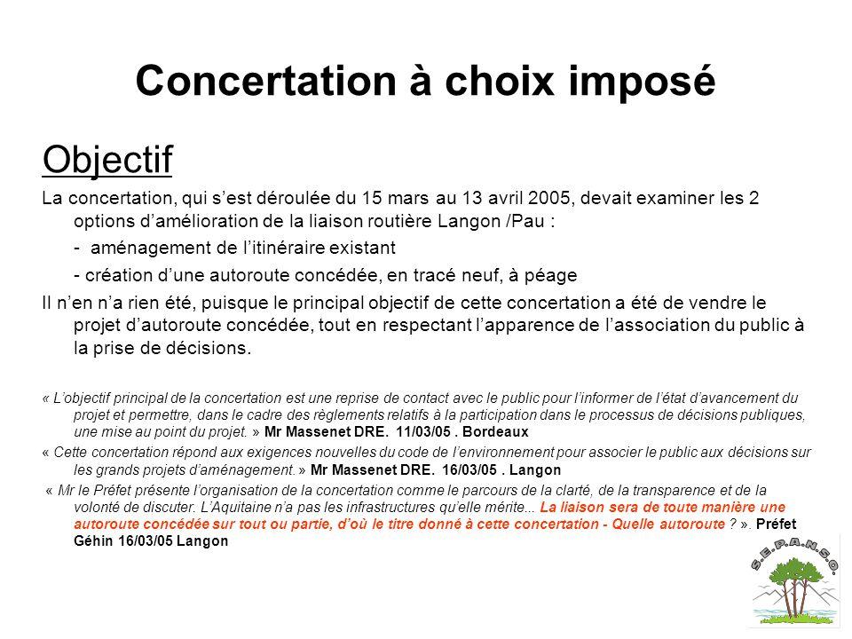 Concertation à choix imposé Objectif La concertation, qui s'est déroulée du 15 mars au 13 avril 2005, devait examiner les 2 options d'amélioration de