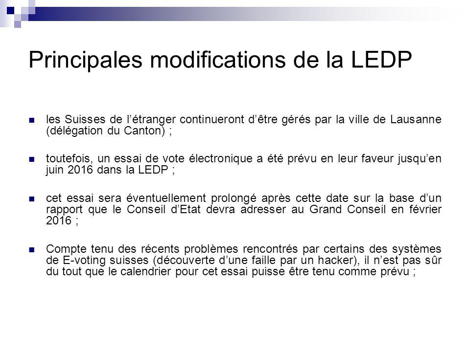 Principales modifications de la LEDP les Suisses de l'étranger continueront d'être gérés par la ville de Lausanne (délégation du Canton) ; toutefois, un essai de vote électronique a été prévu en leur faveur jusqu'en juin 2016 dans la LEDP ; cet essai sera éventuellement prolongé après cette date sur la base d'un rapport que le Conseil d'Etat devra adresser au Grand Conseil en février 2016 ; Compte tenu des récents problèmes rencontrés par certains des systèmes de E-voting suisses (découverte d'une faille par un hacker), il n'est pas sûr du tout que le calendrier pour cet essai puisse être tenu comme prévu ;