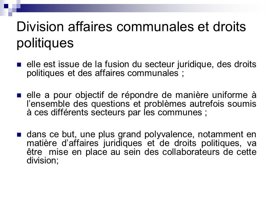 Division affaires communales et droits politiques elle est issue de la fusion du secteur juridique, des droits politiques et des affaires communales ;