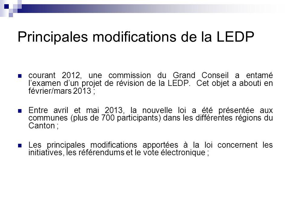 Principales modifications de la LEDP courant 2012, une commission du Grand Conseil a entamé l'examen d'un projet de révision de la LEDP.