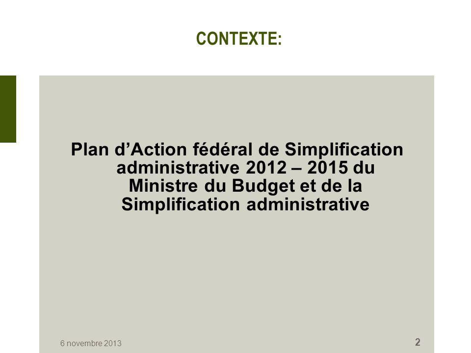 CONTEXTE: Plan d'Action fédéral de Simplification administrative 2012 – 2015 du Ministre du Budget et de la Simplification administrative 6 novembre 2013 2