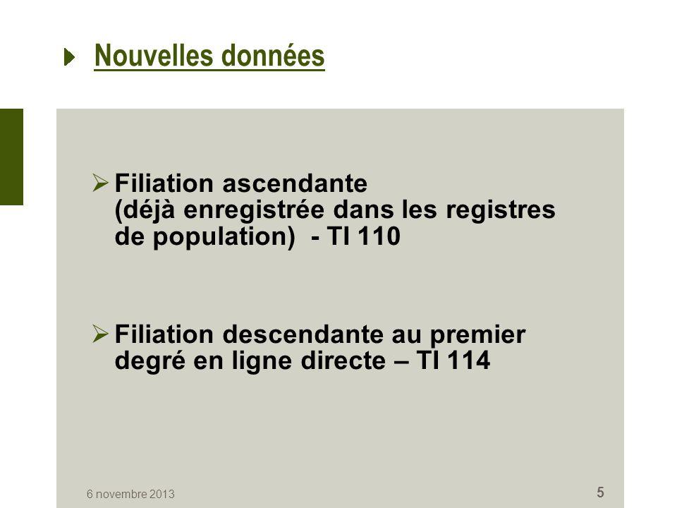 Nouvelles données  Filiation ascendante (déjà enregistrée dans les registres de population) - TI 110  Filiation descendante au premier degré en ligne directe – TI 114 6 novembre 2013 5
