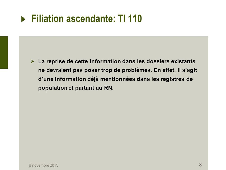 Filiation ascendante: TI 110  La reprise de cette information dans les dossiers existants ne devraient pas poser trop de problèmes. En effet, il s'ag