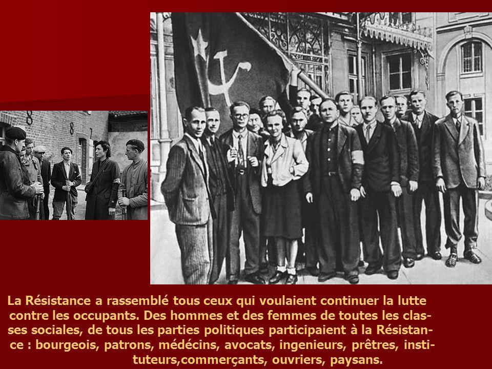 A l`intérieur de la France dépuis juin 1941 l`action clandestine était devenue importante : sabotage, exlosions dans des entreprises, sur des ponts, sur des voies ferrées.