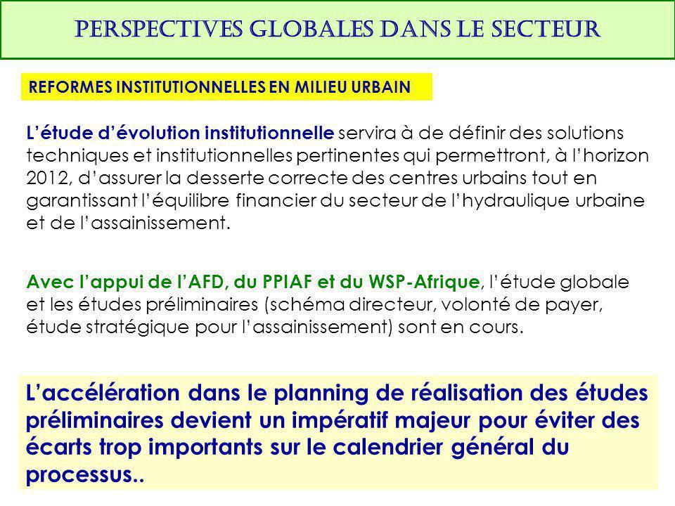 PERSPECTIVES GLOBALES DANS LE SECTEUR REFORMES INSTITUTIONNELLES EN MILIEU URBAIN L'étude d'évolution institutionnelle servira à de définir des soluti
