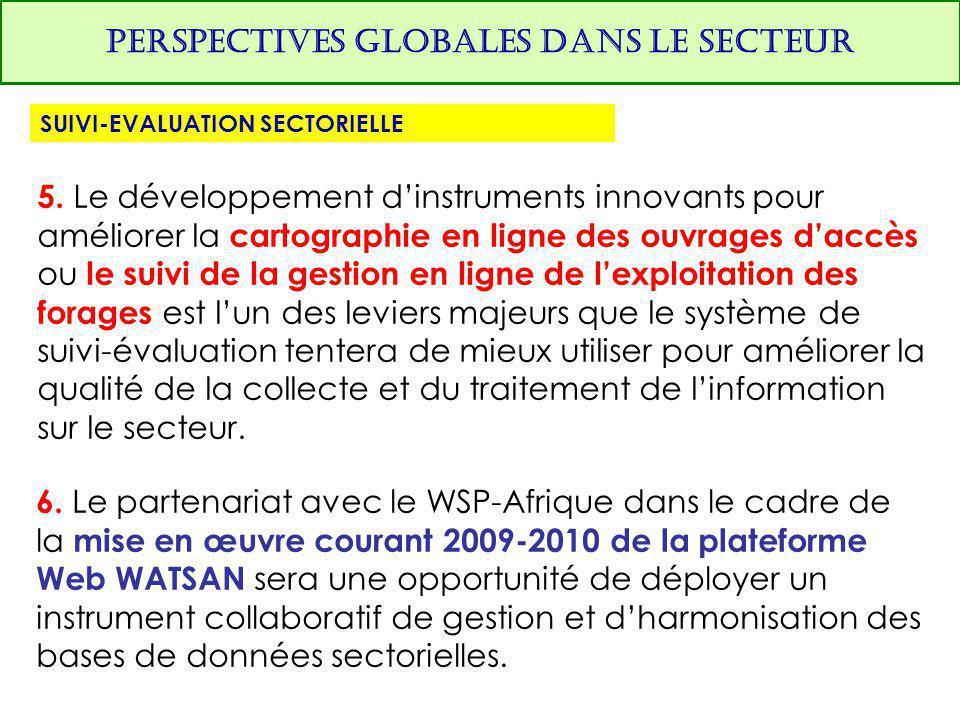 PERSPECTIVES GLOBALES DANS LE SECTEUR SUIVI-EVALUATION SECTORIELLE 5. Le développement d'instruments innovants pour améliorer la cartographie en ligne