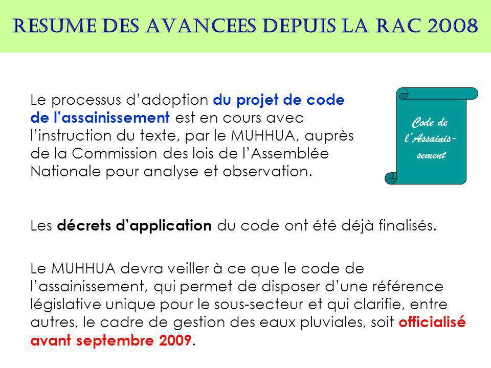 RESUME DES AVANCEES DEPUIS LA RAC 2008 Le processus d'adoption du projet de code de l'assainissement est en cours avec l'instruction du texte, par le MUHHUA, auprès de la Commission des lois de l'Assemblée Nationale pour analyse et observation.