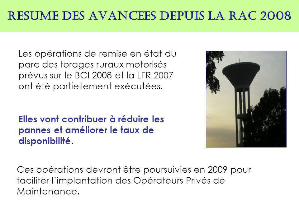 RESUME DES AVANCEES DEPUIS LA RAC 2008 Les opérations de remise en état du parc des forages ruraux motorisés prévus sur le BCI 2008 et la LFR 2007 ont été partiellement exécutées.