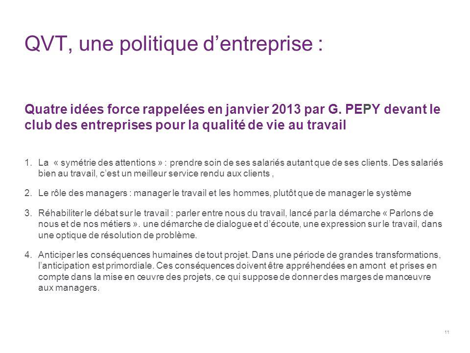 QVT, une politique d'entreprise : Quatre idées force rappelées en janvier 2013 par G. PEPY devant le club des entreprises pour la qualité de vie au tr