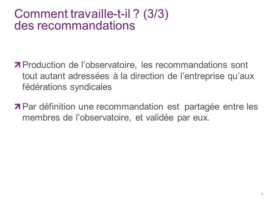 Comment travaille-t-il ? (3/3) des recommandations Production de l'observatoire, les recommandations sont tout autant adressées à la direction de l'en