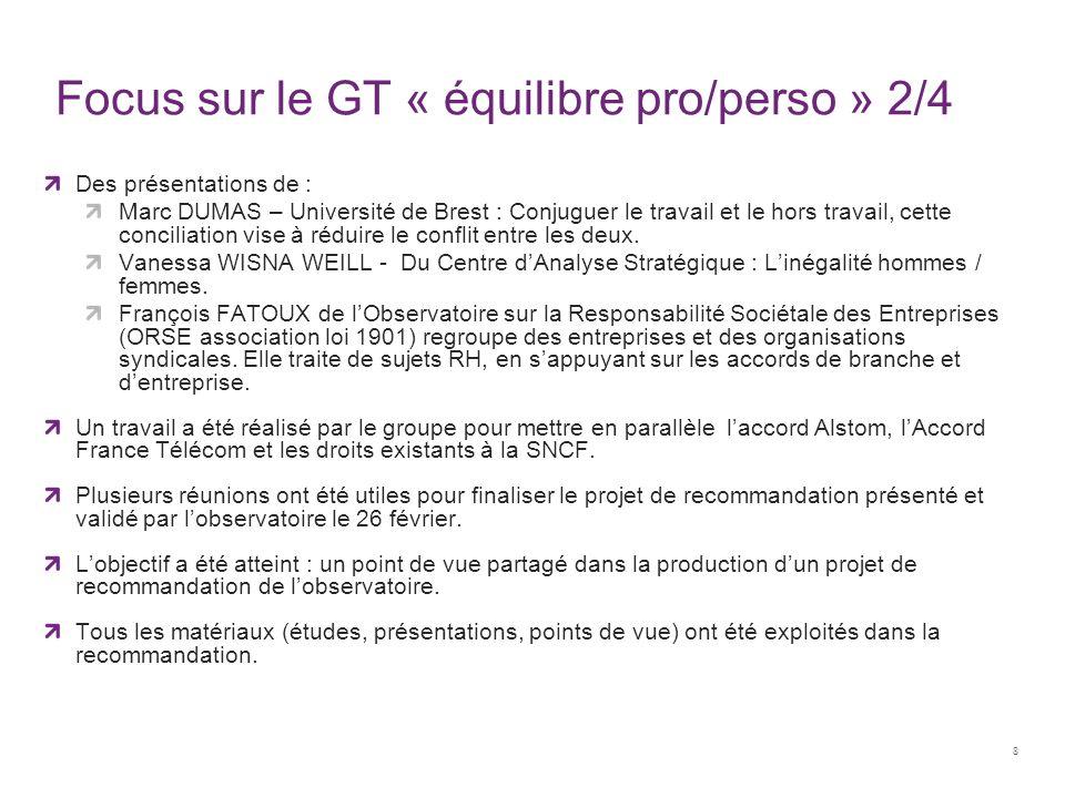 Focus sur le GT « équilibre pro/perso » 2/4 Des présentations de : Marc DUMAS – Université de Brest : Conjuguer le travail et le hors travail, cette c