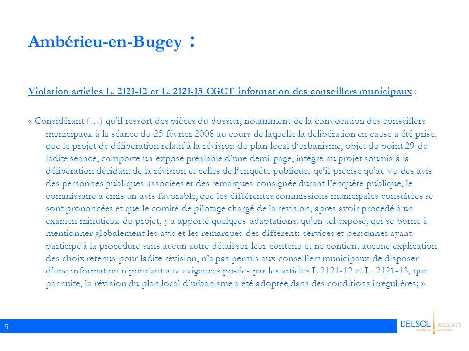 5 Ambérieu-en-Bugey : Violation articles L.2121-12 et L.