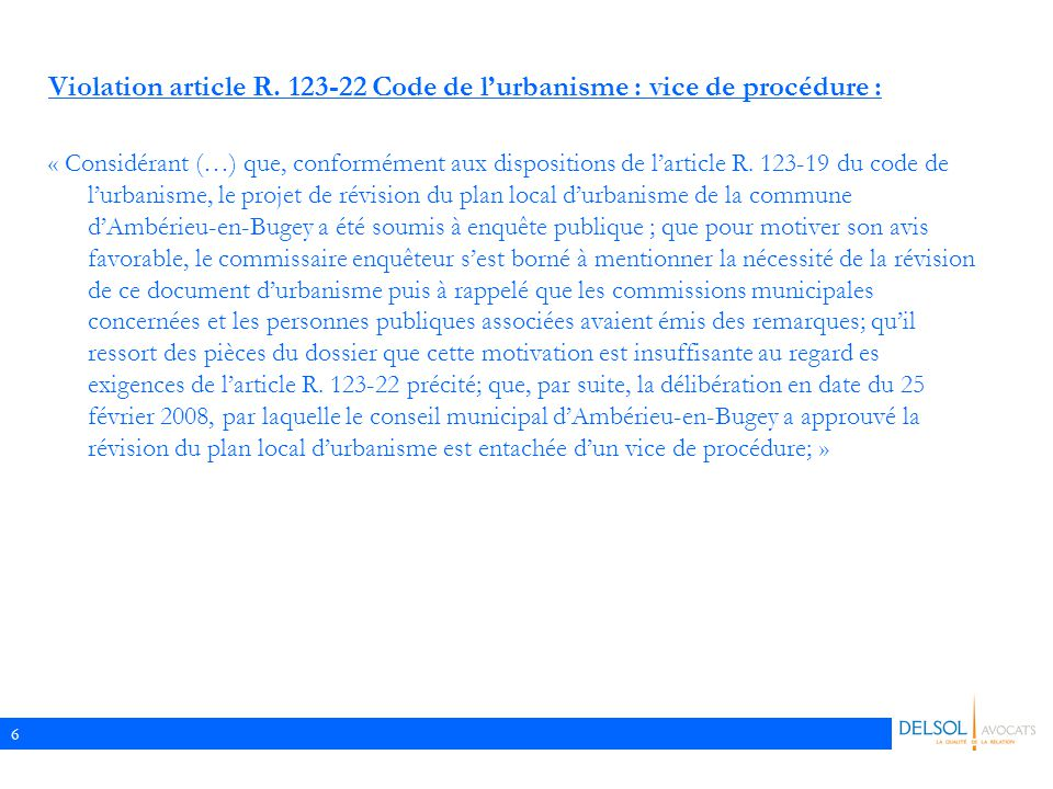 6 Violation article R.