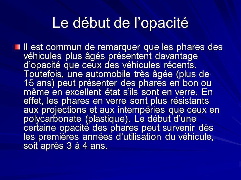 Le début de l'opacité Il est commun de remarquer que les phares des véhicules plus âgés présentent davantage d'opacité que ceux des véhicules récents.