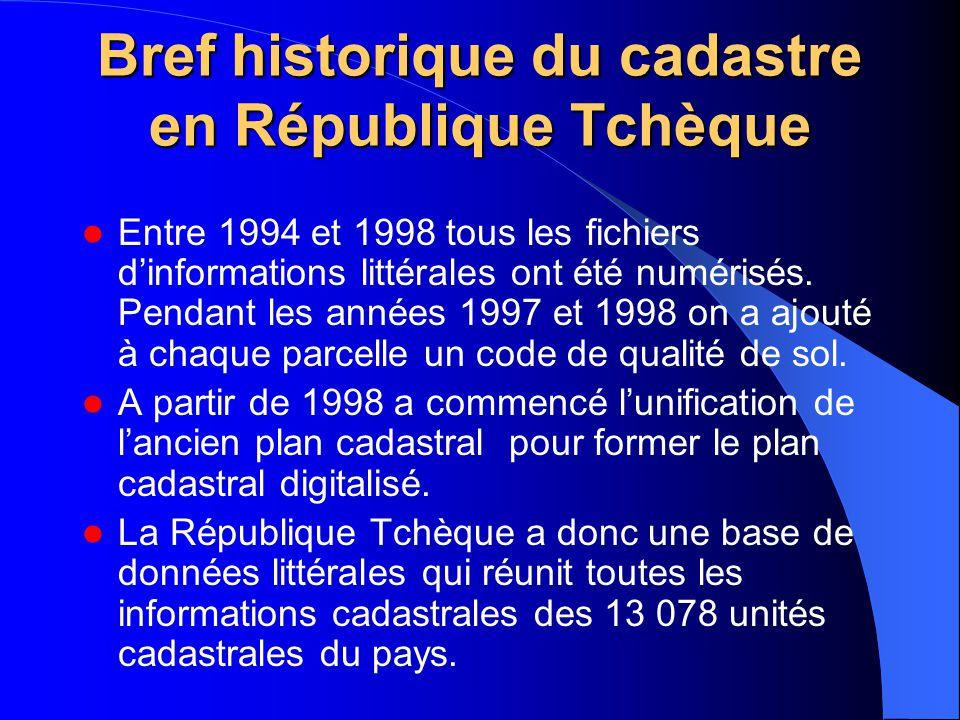 Bref historique du cadastre en République Tchèque Entre 1994 et 1998 tous les fichiers d'informations littérales ont été numérisés. Pendant les années