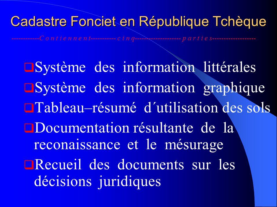 Cadastre Fonciet en République Tchèque  Système des information littérales  Système des information graphique  Tableau–résumé d´utilisation des sol
