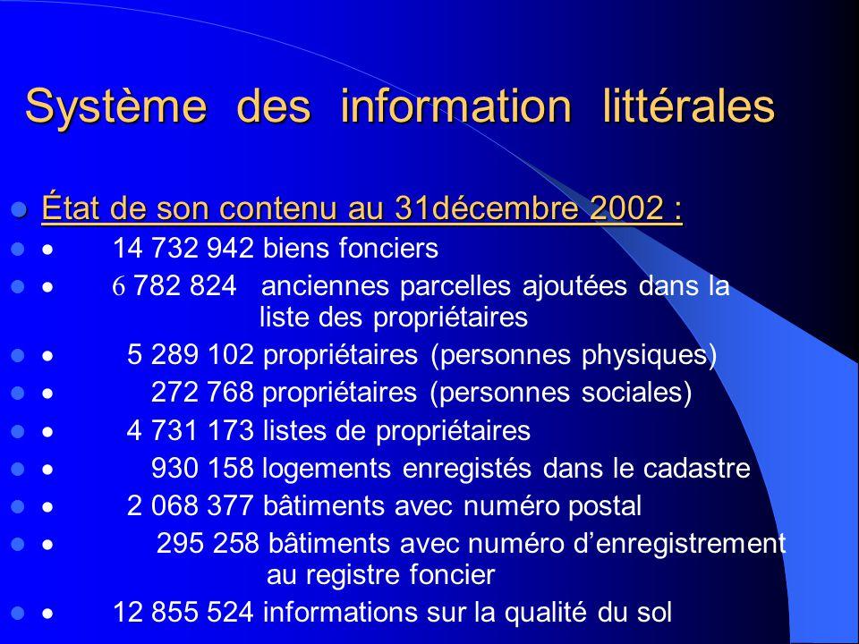 Système des information littérales Système des information littérales État de son contenu au 31décembre 2002 : État de son contenu au 31décembre 2002
