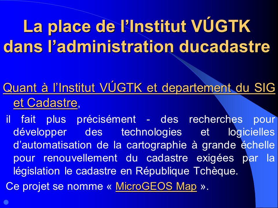 La place de l'Institut VÚGTK dans l'administration ducadastre Quant à l'Institut VÚGTK et departement du SIG et Cadastre Quant à l'Institut VÚGTK et d