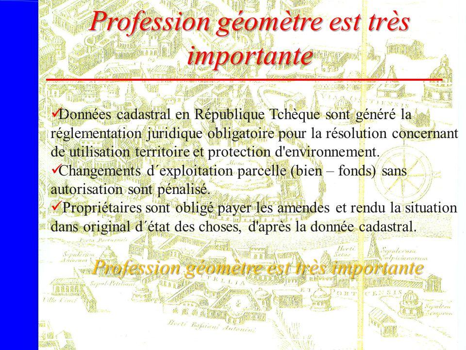 Profession géomètre est très importante Données cadastral en République Tchèque sont généré la réglementation juridique obligatoire pour la résolution
