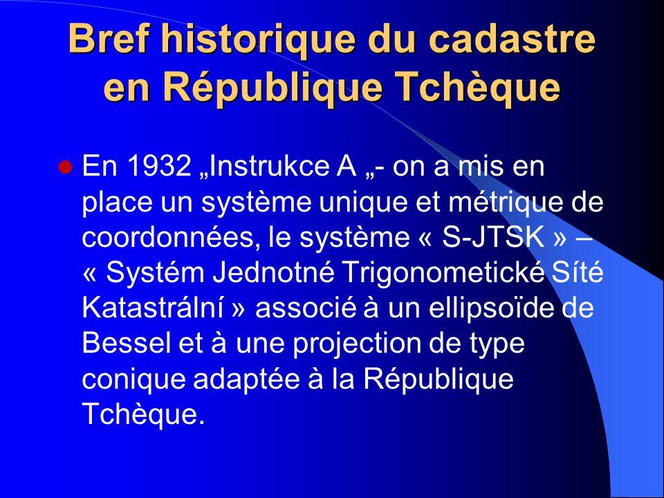 """Bref historique du cadastre en République Tchèque En 1932 """"Instrukce A """"- on a mis en place un système unique et métrique de coordonnées, le système «"""