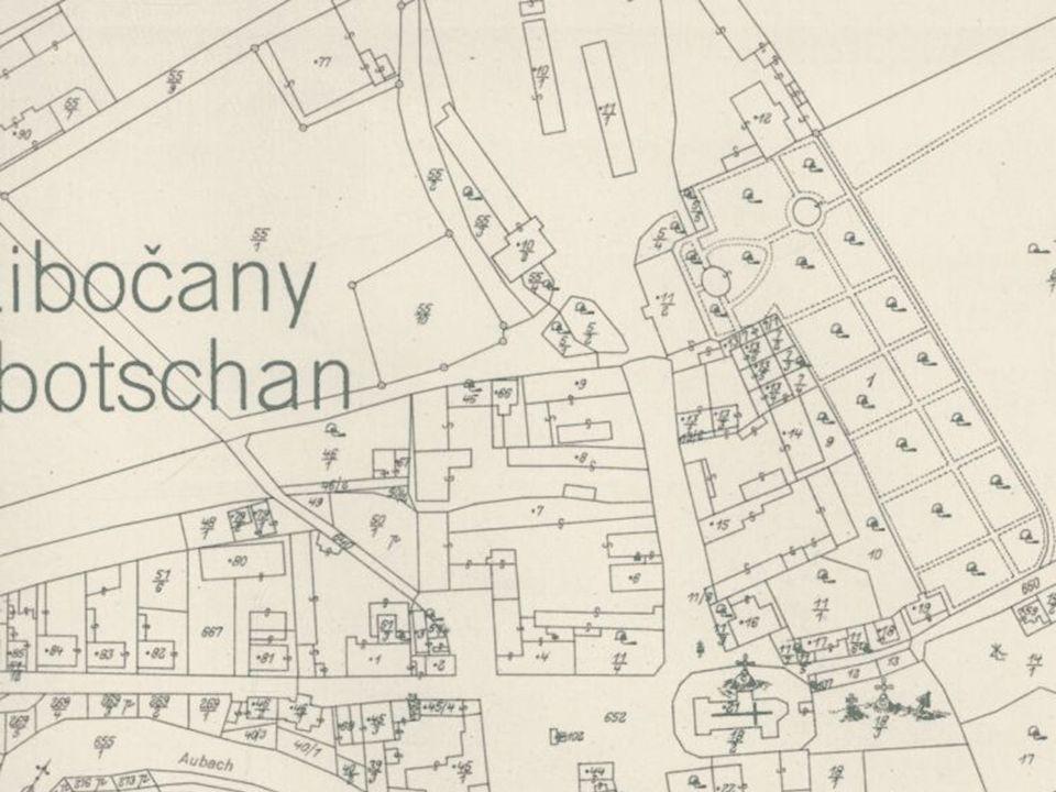 Bref historique du cadastre en République Tchèque  La plupart des cartes était à l'échelle 1:1000 et plus rarement à l'échelle 1:2000.