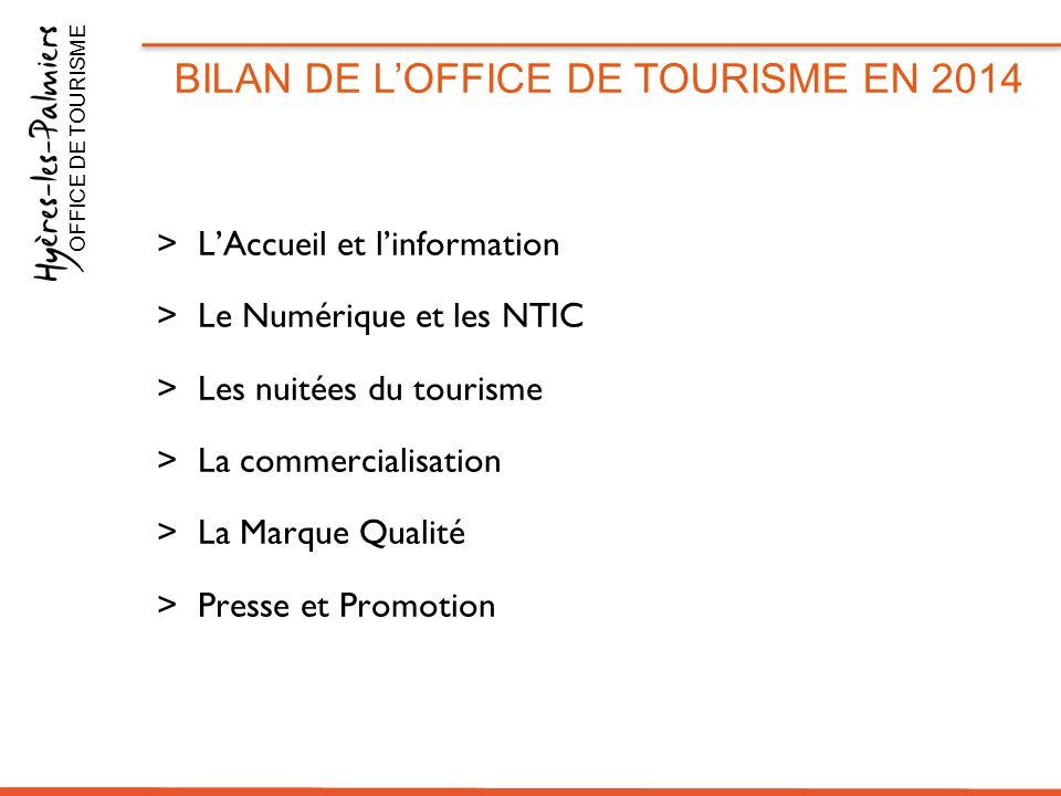 >L'Accueil et l'information >Le Numérique et les NTIC >Les nuitées du tourisme >La commercialisation >La Marque Qualité >Presse et Promotion BILAN DE
