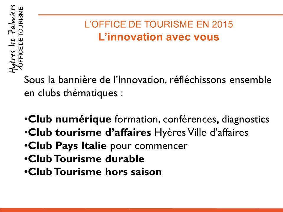 Sous la bannière de l'Innovation, réfléchissons ensemble en clubs thématiques : Club numérique formation, conférences, diagnostics Club tourisme d'aff