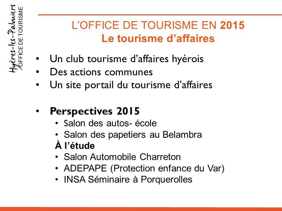Un club tourisme d'affaires hyérois Des actions communes Un site portail du tourisme d'affaires Perspectives 2015 S alon des autos- école Salon des pa