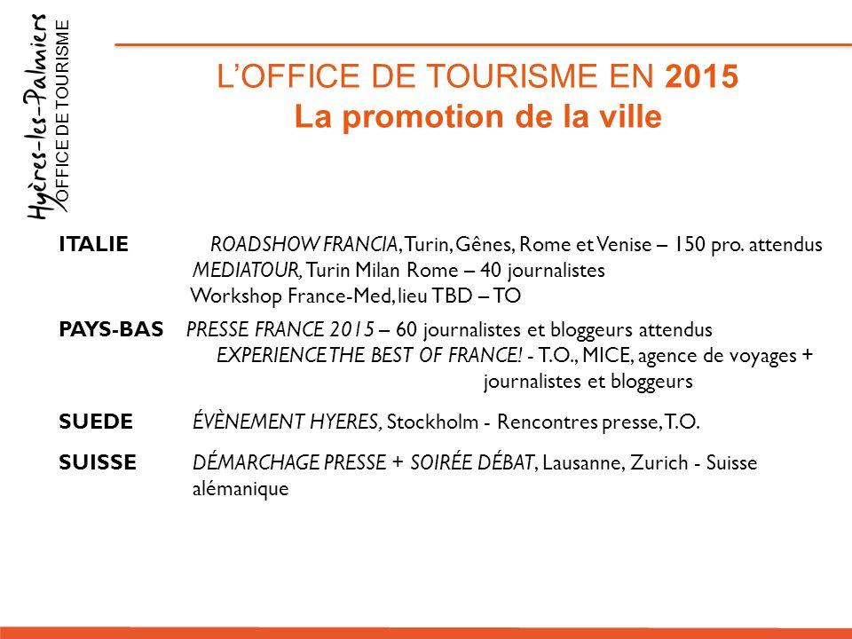 L'OFFICE DE TOURISME EN 2015 La promotion de la ville OFFICE DE TOURISME ITALIE ROADSHOW FRANCIA, Turin, Gênes, Rome et Venise – 150 pro. attendus MED