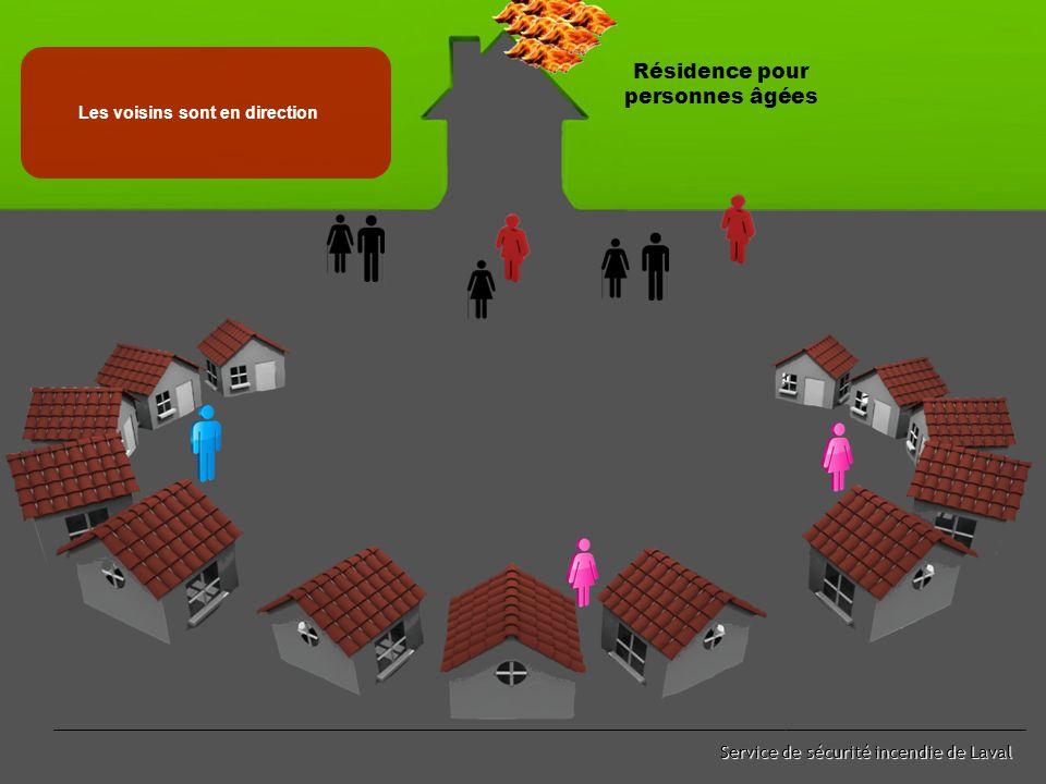 Service de sécurité incendie de Laval Les employés procèdent simultanément * Évacuation des résidents * Appel au CAU 911 * Appel aux voisins Évacuation Résidence pour personnes âgées Appel aux voisins 911