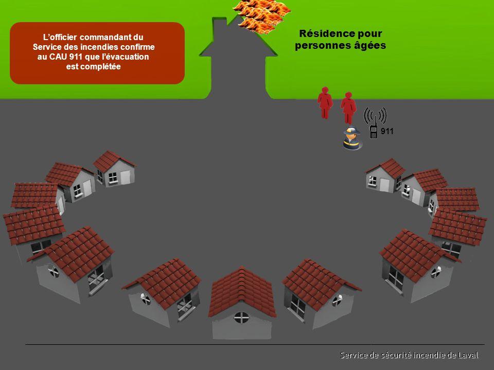 Service de sécurité incendie de Laval Le CAU 911 transmet à l'officier commandant du Service des incendies les renseignements du dénombrement effectué par les voisins Résidence pour personnes âgées 911