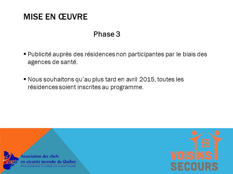 MISE EN ŒUVRE Phase 2  Le programme sera offert à toutes les villes intéressées.