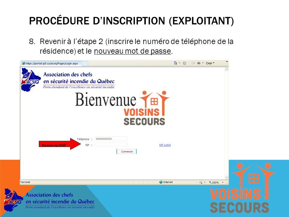 7.Un message indiquera si l'enregistrement du nouveau mot de passe a bien été effectué.