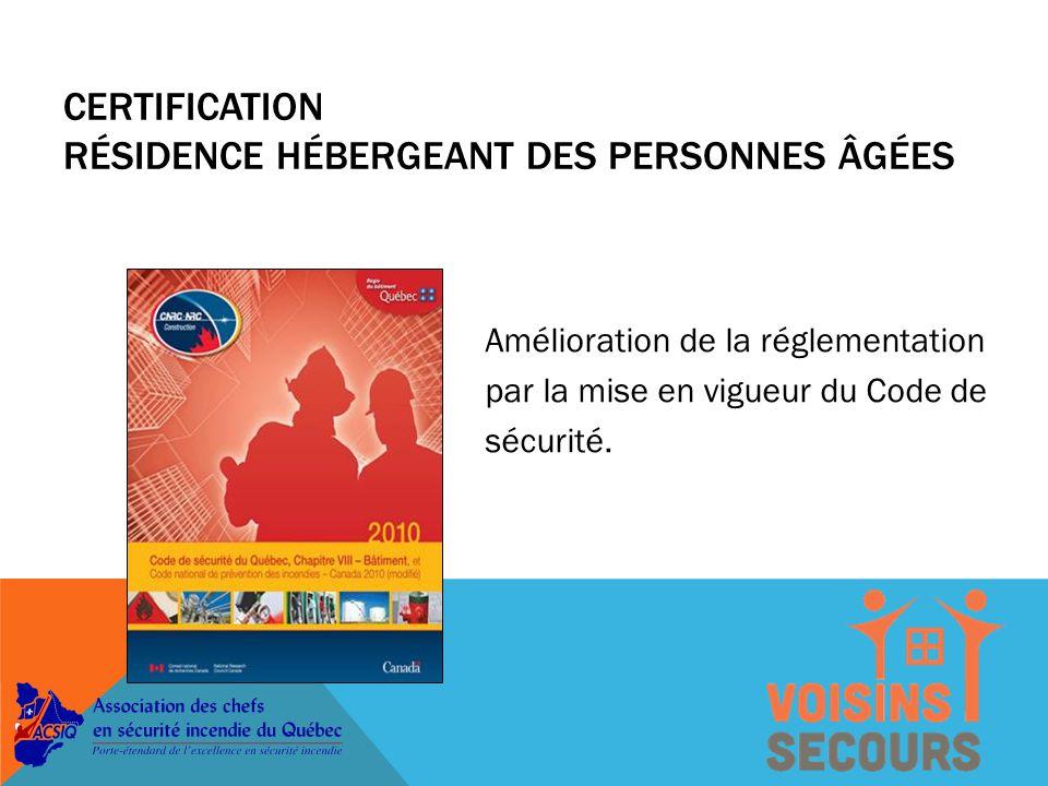 Amélioration de la réglementation par la mise en vigueur du Code de sécurité.