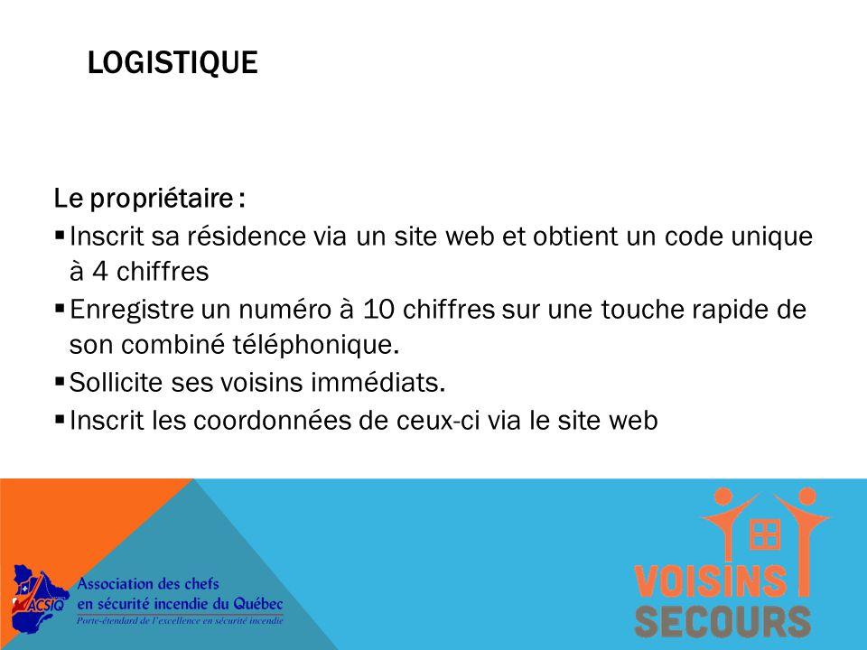LOGISTIQUE Le propriétaire :  Inscrit sa résidence via un site web et obtient un code unique à 4 chiffres  Enregistre un numéro à 10 chiffres sur une touche rapide de son combiné téléphonique.