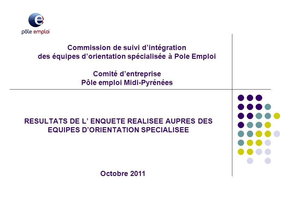 Commission de suivi d'intégration des équipes d'orientation spécialisée à Pole Emploi Comité d'entreprise Pôle emploi Midi-Pyrénées RESULTATS DE L' EN