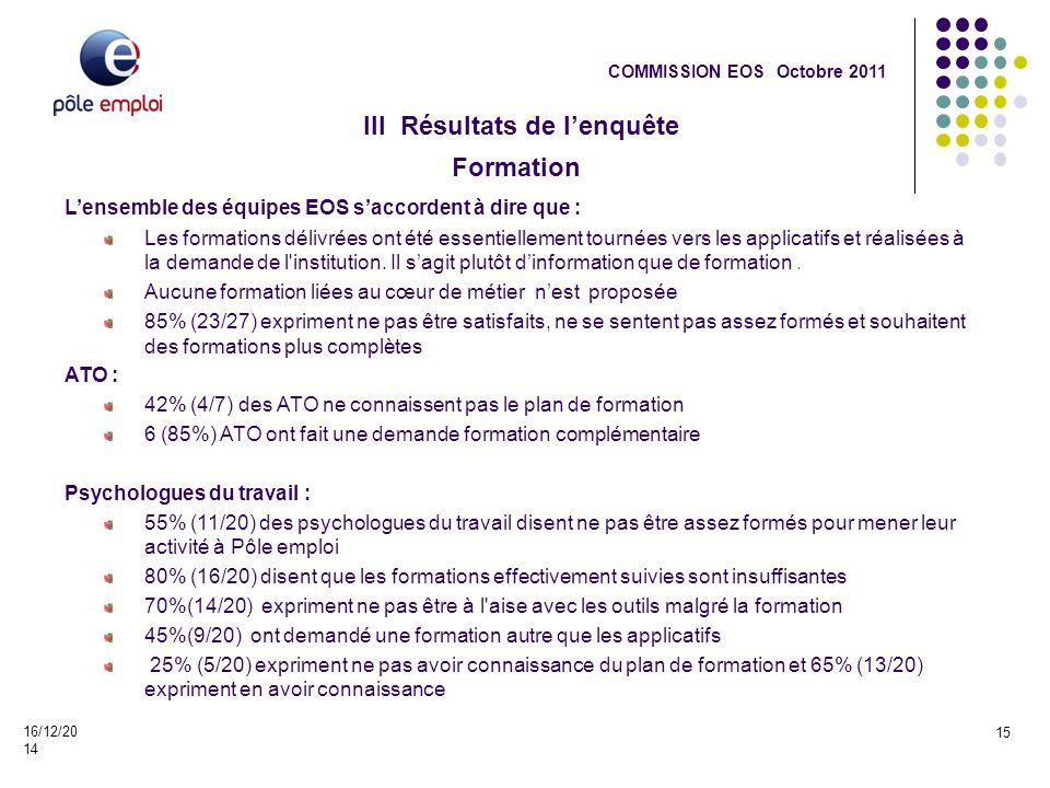 III Résultats de l'enquête 16/12/2014 15 COMMISSION EOS Octobre 2011 Formation L'ensemble des équipes EOS s'accordent à dire que : Les formations déli