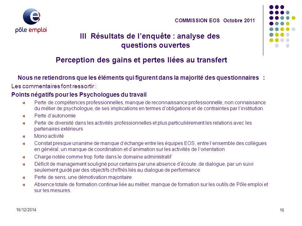 III Résultats de l'enquête : analyse des questions ouvertes 16/12/2014 16 COMMISSION EOS Octobre 2011 Perception des gains et pertes liées au transfer
