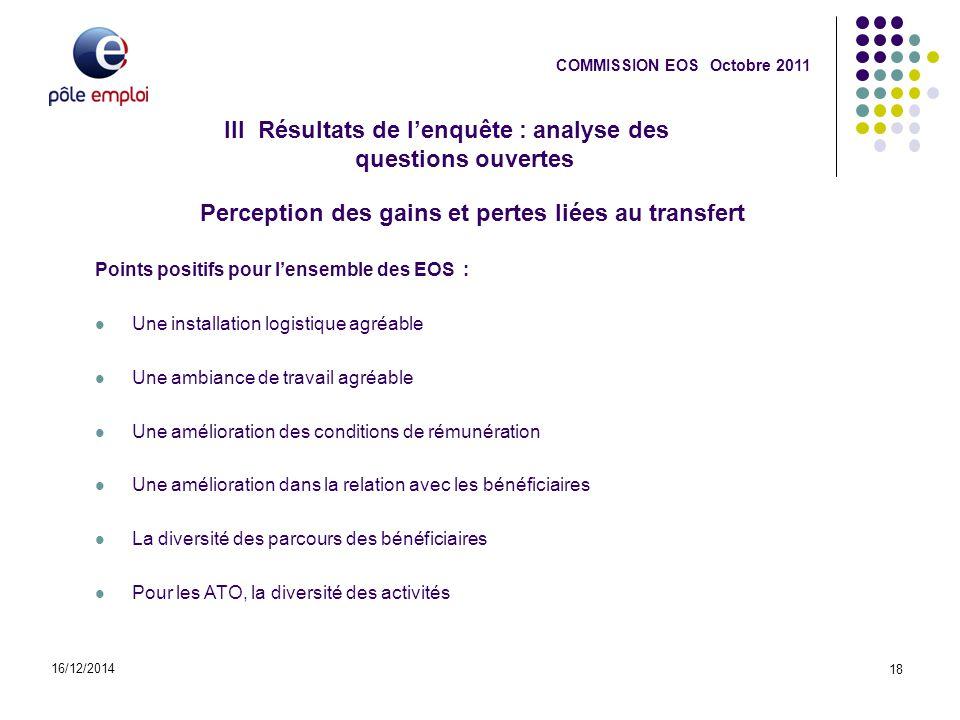 16/12/2014 18 COMMISSION EOS Octobre 2011 Perception des gains et pertes liées au transfert Points positifs pour l'ensemble des EOS : Une installation