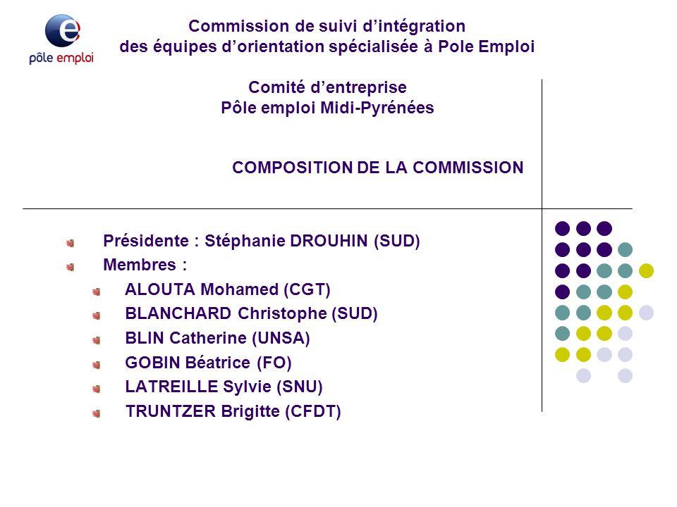 Commission de suivi d'intégration des équipes d'orientation spécialisée à Pole Emploi Comité d'entreprise Pôle emploi Midi-Pyrénées COMPOSITION DE LA