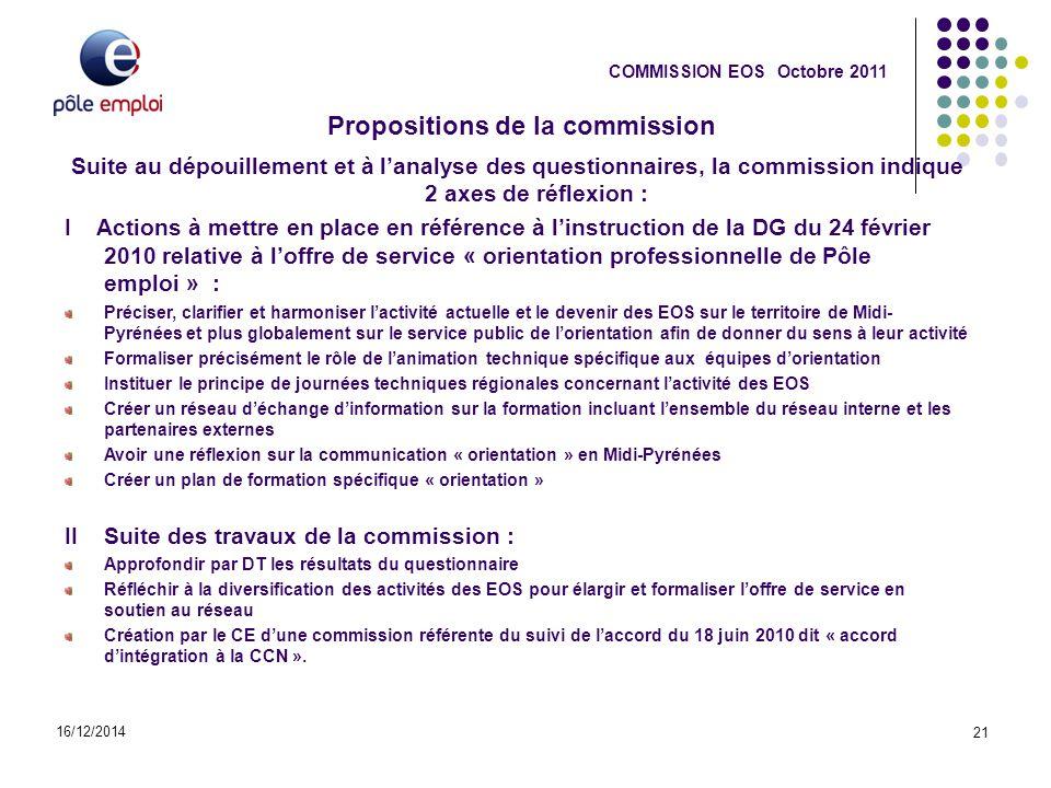 Propositions de la commission 16/12/2014 21 COMMISSION EOS Octobre 2011 Suite au dépouillement et à l'analyse des questionnaires, la commission indiqu