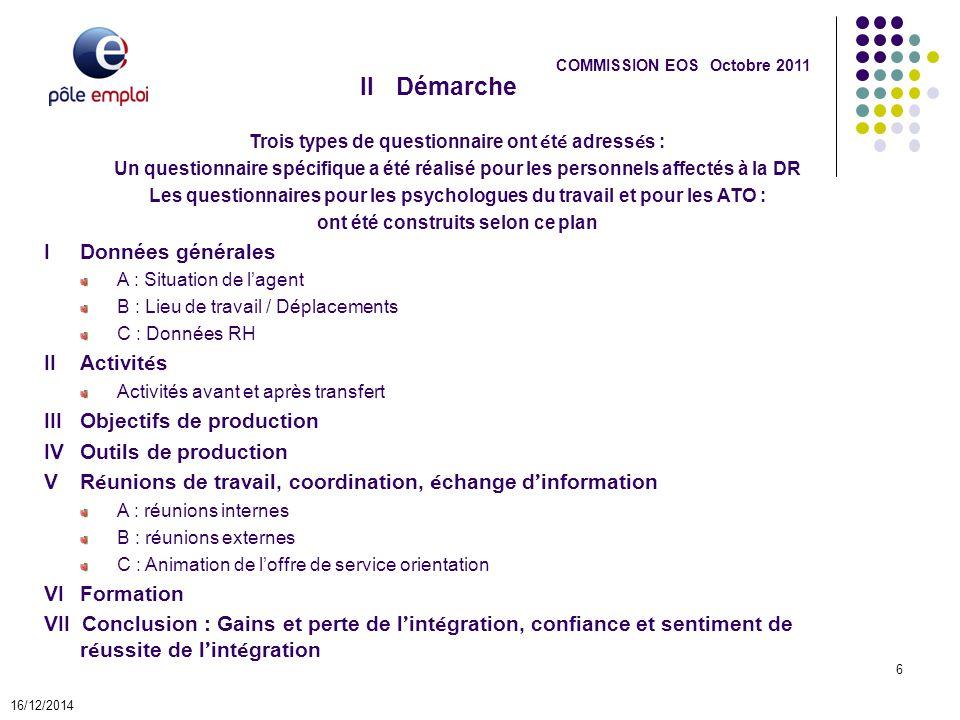 IIDémarche 16/12/2014 6 COMMISSION EOS Octobre 2011 Trois types de questionnaire ont é t é adress é s : Un questionnaire spécifique a été réalisé pour