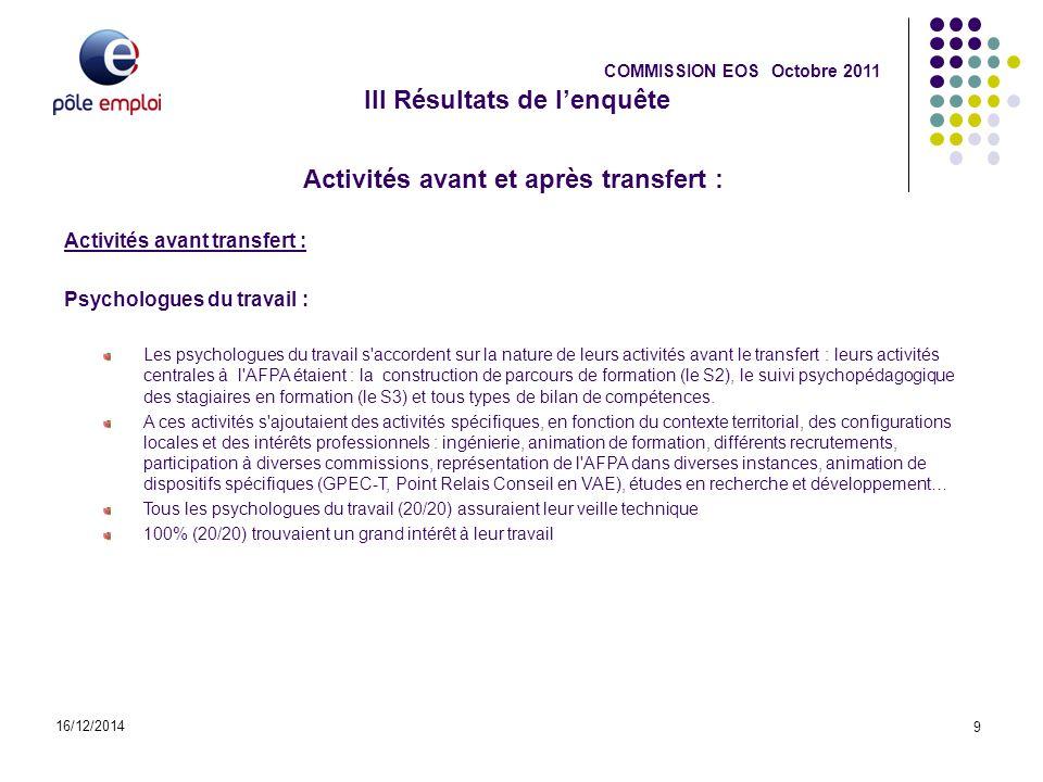 III Résultats de l'enquête 16/12/2014 9 COMMISSION EOS Octobre 2011 Activités avant et après transfert : Activités avant transfert : Psychologues du t