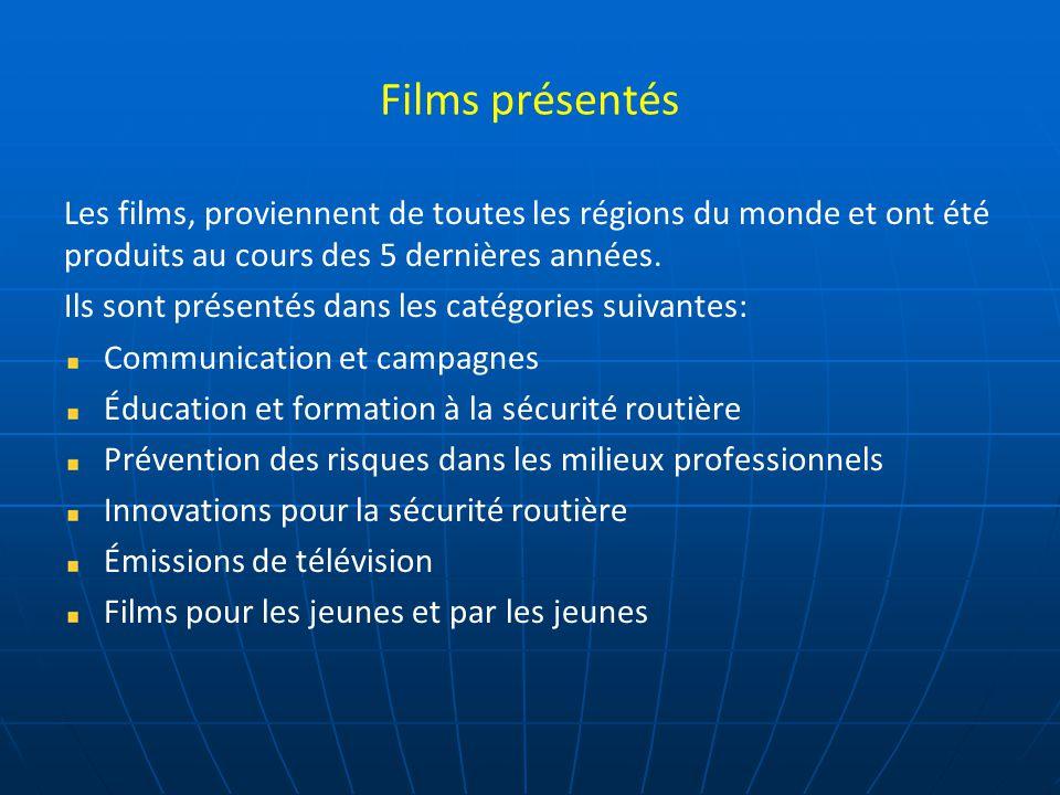 Les participants Lieu de rencontres et d'échanges, le Festival du film de sécurité routière intéresse les organisations gouvernementales, les autorités publiques, les associations les entreprises, les médias, les professionnels de la communication et de la sécurité routière, les jeunes.