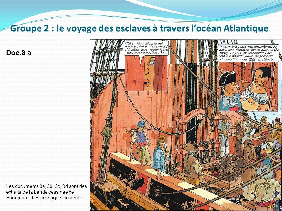 Doc.3 a Les documents 3a, 3b, 3c, 3d sont des extraits de la bande dessinée de Bourgeon « Les passagers du vent » Groupe 2 : le voyage des esclaves à travers l'océan Atlantique
