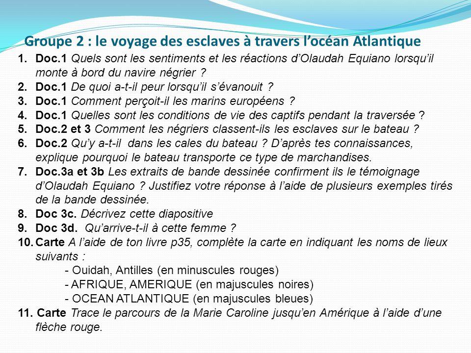 1.Doc.1 Quels sont les sentiments et les réactions d'Olaudah Equiano lorsqu'il monte à bord du navire négrier .