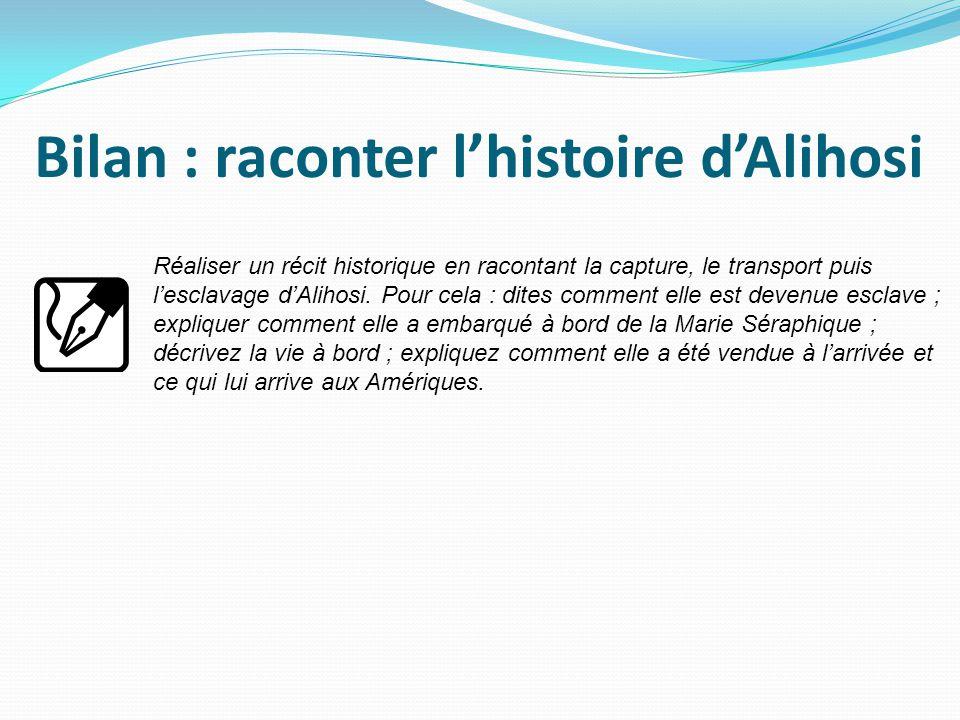 Bilan : raconter l'histoire d'Alihosi Réaliser un récit historique en racontant la capture, le transport puis l'esclavage d'Alihosi.